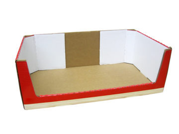 Display tray with rollover side walls and large rollover display window